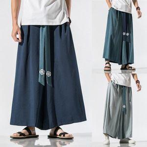 Japanese Traditional Samurai Style Kimono Loose Casual Wide Leg Pants for Men Fashion Streetwear Linen Male Solid Trouser Pants