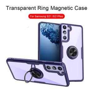 Transparent Finger Ring Bracket Magnetic Car Holder Shockproof Hard Case for iPhone 12 11 Pro Max XR XS 7 8Plus Samsung S21 S21Plus
