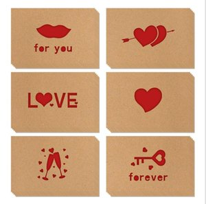 Biglietti Greeting Biglietti Kraft Paper Amore Biglietti Greeting Biglietti San Valentino Valentine's Hollow Greeting Biglietto di auguri Thanksgiving Wedding Blessing Cards GWB3787