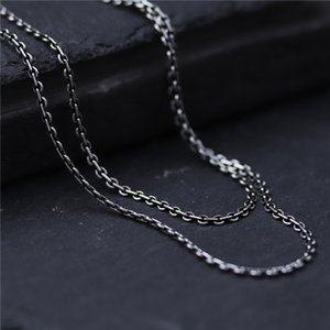 C&R Real 925 Sterling Silver Necklace retro link chain men women long necklace personality Thai Silver Fine Jewelry LJ201009