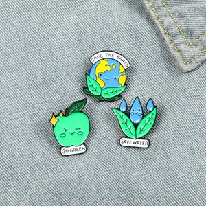 Natural Green Enviromental Protection Enamel Pins Green Creative Earth Water Apple Gift For Friends Lapel Pins Clothes Bag