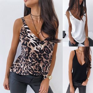 Womens Leopard V-cuello sin mangas sueltas Tops de tanques sin mangas sin espalda Color sólido Chaleco Sexy Mujer Nueva Moda Tshirts Camis