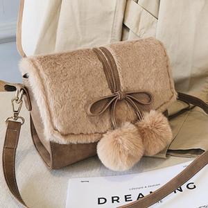 Faux меховые меховые сумки для женщин роскошь из искусственной кожи женской сумки на плечо зима теплые женские сумки и кошельки