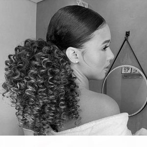 Kinky Curly Mongolian Real Grey Casheil Ponytail Ponytail clip in mongolo Kinky Curly Sliver Grigio Grigio countoncino Ponytail Parrucchino capelli umani per le donne