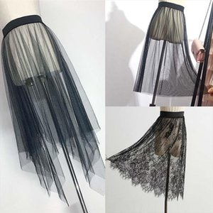 Summer Women Mesh Lace Skirts Women Casual Tulle Skirt High Waist Elastic Transparent Asymmetry black Skirt Overskirt