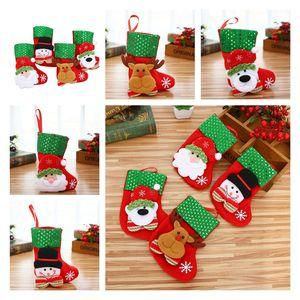 HOT Christmas Hanging Socks Cute Candy Gift bag snowman santa claus deer bear Christmas Stocking for Decorative Socks Pendant T10I41