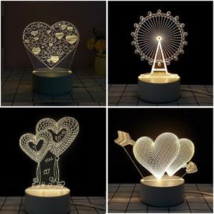 Vendita calda Valentino Giorno Regalo 3D Lampada 3D LED Night Light Lampada da tavolo Home Decor Lampadina per amante Wife Regalo all'ingrosso