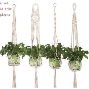 Maceta colgando canasta planta colgador gancho flores maceta hecho a mano tejido natural fino cordedage plantador sostenedor cesta balcón decoración w95