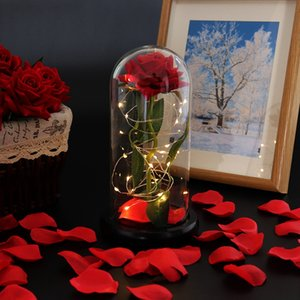 Rose Lasts Forever with Led Lights in Glass Dome Valentine's Day Wedding Anniversary Birthday Gifts Party Decoration CCA12644