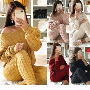 Women 2 Piece Set Christmas Sweater Autumn Winter Knitted Set Outfit Ladies O Neck Pullover Solid Color Tops+Pants Outfits