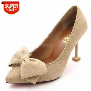 Ytmtloy mujer casual bombas más reciente dulce hembra alto tacón alto zapatos puntiagudo con punta baja mariposa-nudo zapatos mujer # pc1b