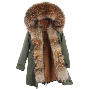 Lavelache New Coat Real Women Long Jacket Winter Plus Tamaño Mapache natural Cuello de piel de lujo Parka desmontable 201211