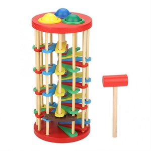 Wooden Batting Ladder Hand Knock The Ball Montessori Mathematics Early Educational Colorful Toys For Children Kids Baby toy