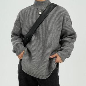 Gli uomini di colore solido Pullover Turtelneck maglione maschio Due Donne Streetwear Maglieria Maglione allentato Moda