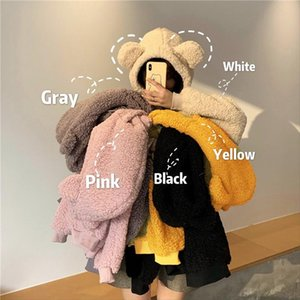 QRWR 2020 Женщины капюшон Корейский стиль зима случайные милые каваи теплые толстовки свободно женские карманы негабаритные толстовки для девочек