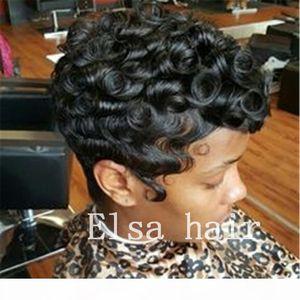 Black Short Ricci Acconciature Acconciature Finger Onde Acconciature Capless Parrucche per capelli umani per donna nera