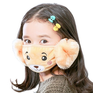 2 In 1 Children's Cartoon cute Face Mask Cover Plush Ear Protective Thick Warm Kids Mouth Masks Winter Mouth-Muffle Earflap For Kids