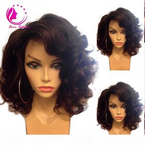 Brazilian virgin human hair bob wigs short natural wave glueless Lace front short bob wigs for black women baby hair on sale