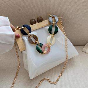 Designer-Transparent Jelly Tote Bag 2020 Summer New High Quality Pvc Women's Designer Handbag Travel Chain Shoulder Messenger Bag