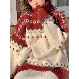 Sweater Womens Christmas New High Neck Color Matching Printed Knitwear Top Student Outer Wear Loose Retro Idle Style