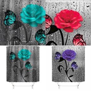 Flores de impressão digital Chuveiro cortina borboleta impermeável poliéster pano decoração prática banho cortinas banheiro suprimentos 46yj f2
