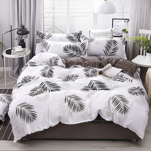 4pcs cotton super set Fashion bed sheet grey polyester duvet cover king size luxury bedding sets