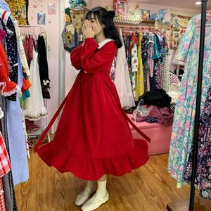 Japanese Style Little Red Dress Fairy Gentle Retro Preppy Style Christmas Corduroy Long Waist Mid-Length Dress for Women