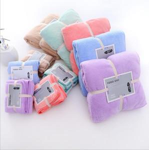Coral Fleece Bath Towels Toalha de Rosto Cor Sólida Turbânsos Macios Turbânicos Alta densidade Qualidade Absorção de Água Toalhas Envoltório Banheiro Banheiro Robe FFC3697