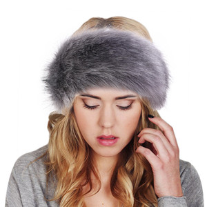 Womens Faux Fur Winter Headband Mujeres Lujosa Moda Cabeza Wrap Wrap Oreep Oreepuffs Cubierta Accesorios para el cabello 20pcs T1I3047