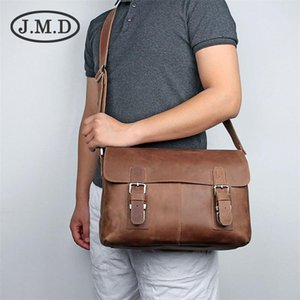 J.M.D 100% Men's Fashion Leather Bag Crazy Horse Leather Cross Body Briefcase Sling Bag Shoulder Messenger 6002