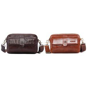 PI Tío Cuero Hombro Bolso Hombro Multifuncional Cintura Bolsa Cofre Crossbody Retro Business Casual
