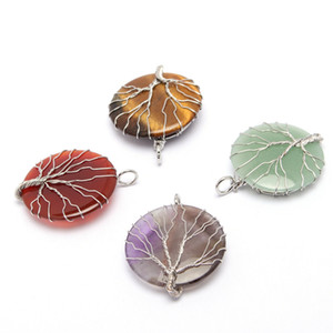 Natural Crystal DIY Creative Jewelry Hand Woven Tree Of Life Wire Wrapping Disc shape Gemstone Women's Fashion Charms Pendant Necklace