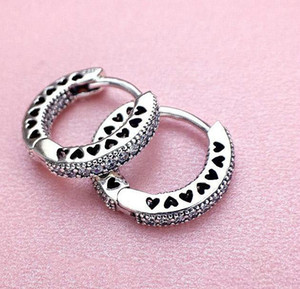 Fast Shipping Heart Hoop Earrings 925 Sterling Silver small ear ring for Women Mens EARRING GWE3209