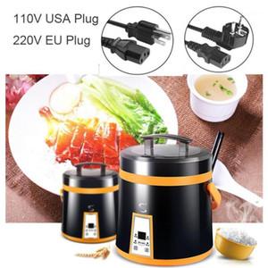 Cuisiniers à riz 1.6L Mini 110V Cuisinière Chauffage électrique Boîte à luncher Boîte à soupe à soupe Nouilles de soupe portable Pot de cuisson Porridge Machine Steamer1