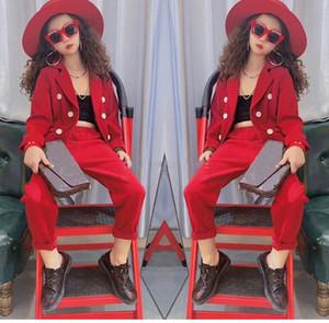 Girls Formal Suit Blazer Jacket + Pants 2pcs Dress Kids Wedding Party Clothing Set Teenager Girls School Performance Suit