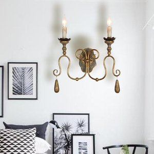 American Country Wall Lamp Living Room Aisle Retro Wrought Iron Wall Light Nostalgic French Model Room Wood Candle Sconce