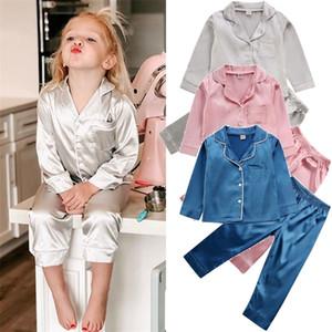 HIPAC 아이들 어린이 어린이 침대 실크 새틴 옷 PJS 2020 긴 소매 잠옷 Nightwear Girl Boy Pajama Sets LJ201216