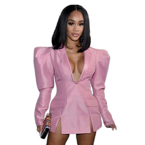 Dress Autumn Deep V Neck Solid Color Dresses Fashion Casual Coat Female Clothing Womens Designer Blazer