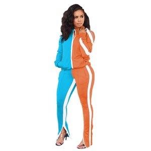 Panelled Designer Womens Tracksuits Casual Contrast Color Two Piece Set Cardigan Hollow Out Two Piece Pants