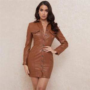 Aperto Abito elegante Abito da donna Autumn Autunno PU in pelle Bodycon Dress Fashion manica lunga camicia stile sexy club marrone vestidos