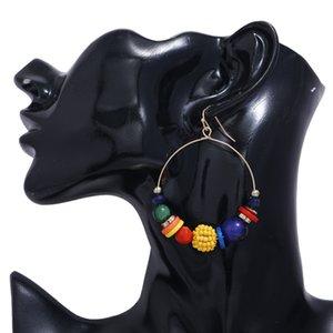 Ladies hot sale new popular big circle jewelry, creative colorful irregular pendant earrings, retro alloy hook earrings