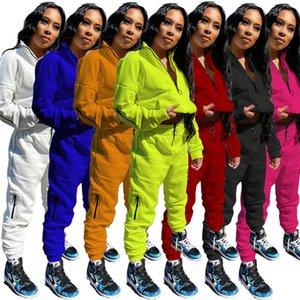 Mulheres Desenhador S-3XL Espessura Fleece Pell Tracksuit Hoodies Calças Plus Size Soild Color 2 Piece Set Winter Casual Roupas 4087