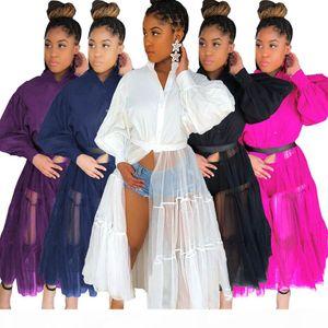Women Long Dress Mesh Black White Patchwork High Street Fashion Cool Girl Long Sleeve Coat Top Plus Size Hot Sale Chic Clubwear 8835