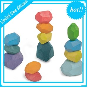 Children's Colored Stone wood Building Block Educational Creative Nordic Style Stacking Game Rainbow Wooden Toy Gift