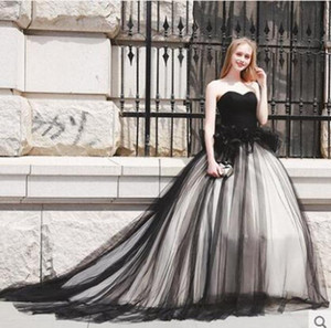 Vintage Black Wedding Dress with Sweetheart Pleated Tulle A Line Gothic Bridal Gowns Vestidos De Noiva Plus Size