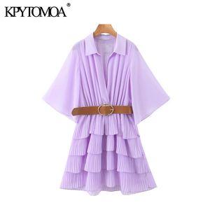KPYTOMOA Women 2020 Chic Fashion See Through Ruffled Chiffon Mini Dress Vintage Elastic Waist With Belt Lining Female Dresses J1215