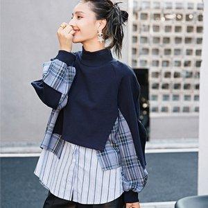 LANMREM NUEVO AZUL AZUL CHARAID PIELIGHT PATHWORK COLLAR CASOS Casual suelto Coreano Sweetershirt Autumn Fashion Tide para las mujeres LJ201103