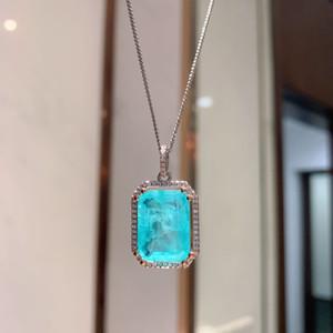 AIYANISHI Luxury 925 Sterling Silver Emerald Paraiba Tourmaline Gemstone Wedding Engagement Fine Jewelry Pendant Necklace