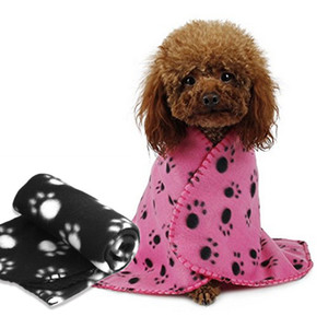 60*70cm Pet Blanket Small Paw Print Towel Cat Dog Fleece Soft Warmer Lovely Blankets Beds Cushion Mat Dog Blanket
