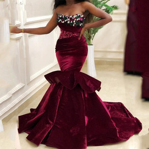 Borgogna Mermaid Prom Dress Beaded Flowers Evening Party Gowns Sweetheart Sweep Train Donne Princess Party Wear